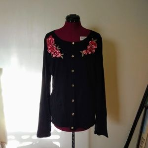 Karen Scott Cardigan Sweater Embroidered NWOT